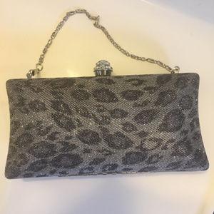 Handbags - SILVER & Gray Leopard Print Hard Shell Evening Bag